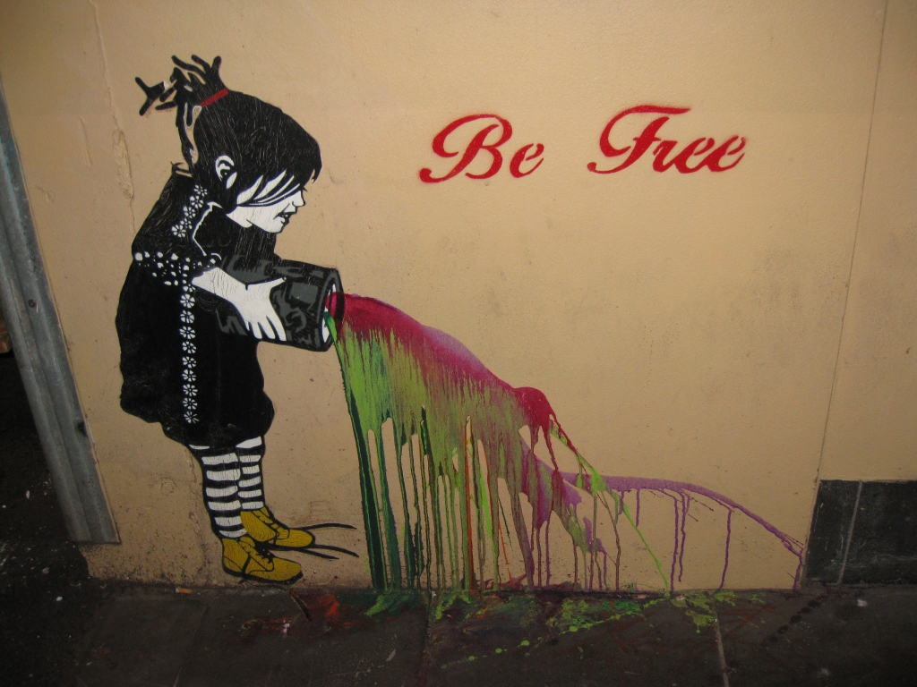 The first piece of Be Free street art I spotted in Melbourne. This can still be seen in Degraves Street but isn't in such good condition any more.